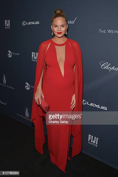 Model/TV personality Chrissy Teigen attends The Weinstein Company's PreOscar Dinner presented in partnership with FIJI Water Chopard DeLeon and Lexus...