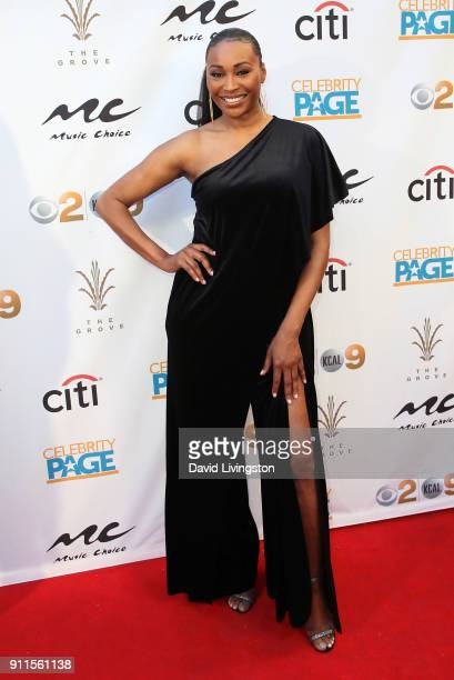 Model/TV personality Cynthia Bailey attends a GRAMMY viewing party and reception hosted by Celebrity Page, KCAL-TV and KCBS-TV at La Piazza on...
