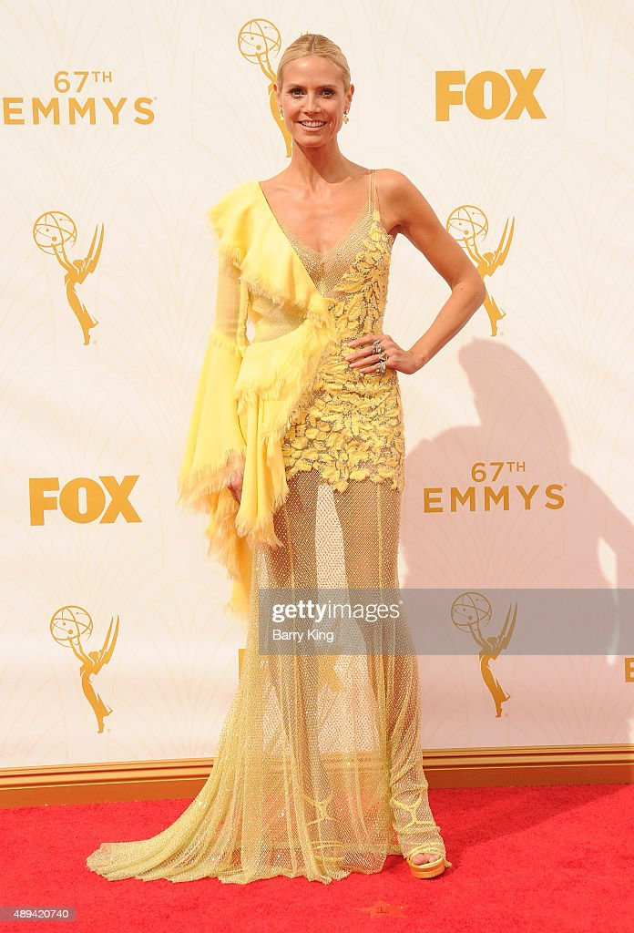 Model/TV personality Heidi Klum arrives at the 67th Annual Primetime Emmy Awards at the Microsoft Theater on September 20, 2015 in Los Angeles, California.