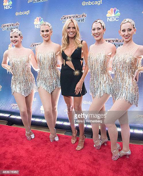 "Model/TV personality Heidi Klum at the ""America's Got Talent"" pre-show red carpet arrivals at Radio City Music Hall on August 11, 2015 in New York..."