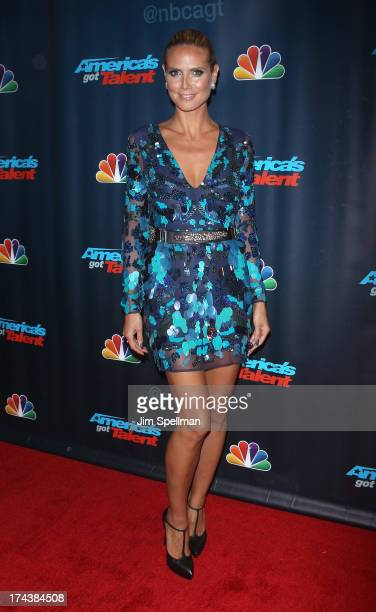 Model/TV personality Heidi Klum attends Americas Got Talent Season 8 PostShow Red Carpet Event at Radio City Music Hall on July 24 2013 in New York...