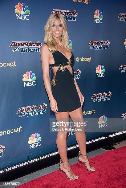 "Model/TV personality Heidi Klum attends the ""America's Got Talent"" pre-show red carpet arrivals at Radio City Music Hall on August 11, 2015 in New..."