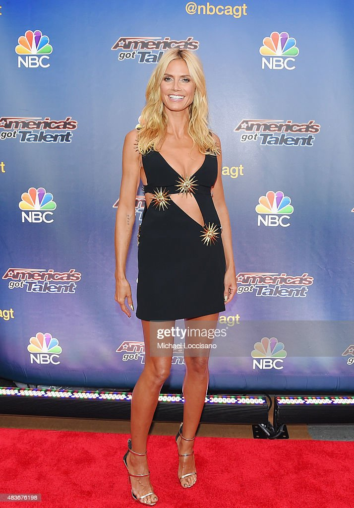 Model/TV personality Heidi Klum attends the 'America's Got Talent' season 10 taping at Radio City Music Hall on August 11, 2015 in New York City.