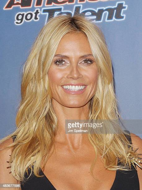 "Model/TV personality Heidi Klum attends the ""America's Got Talent"" season 10 pre-show red carpet at Radio City Music Hall on August 11, 2015 in New..."