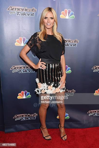 Model/TV personality Heidi Klum attends the 'America's Got Talent' season 10 taping at Radio City Music Hall at Radio City Music Hall on August 12...