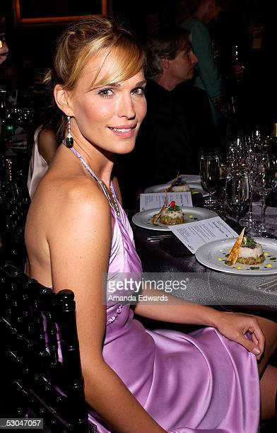 Model/TV personality Molly Sims poses at the dinner during the 33rd AFI Life Achievement Award tribute to George Lucas at the Kodak Theatre on June...