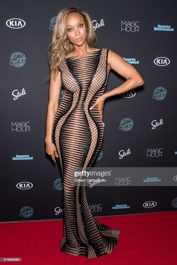 Model/TV personality Tyra Banks attends the 2018 Sports Illustrated Swimsuit Issue Launch Celebration at Magic Hour at Moxy Times Square on February 14, 2018 in New York City.