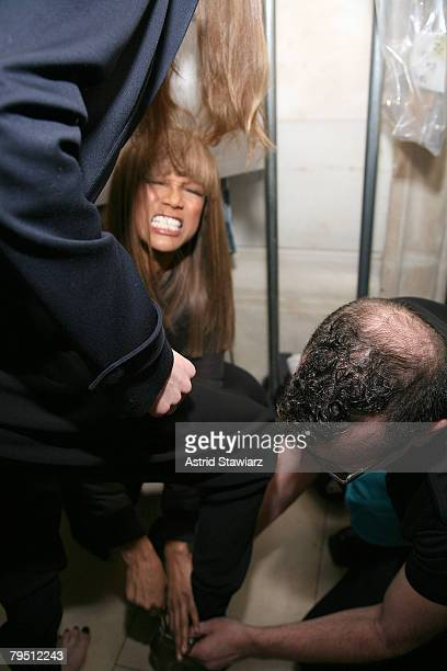 Model/TV personality Tyra Banks backstage at the Jill Stuart 2008 fashion show during MercedesBenz Fashion Week Fall 2008 at the NY Public Library on...