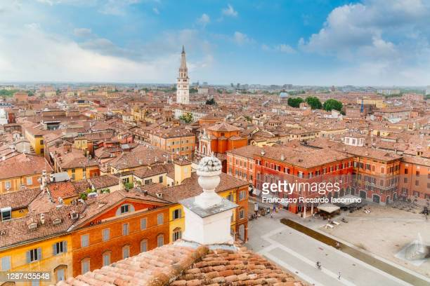 modena, emilia romagna, northern italy. cityscape from above - modena stock-fotos und bilder