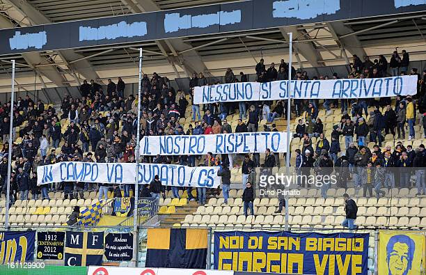 Modena FC fans wave a banner as they show their support during the Serie B match between Modena FC and Reggina Calcio at Alberto Braglia Stadium on...