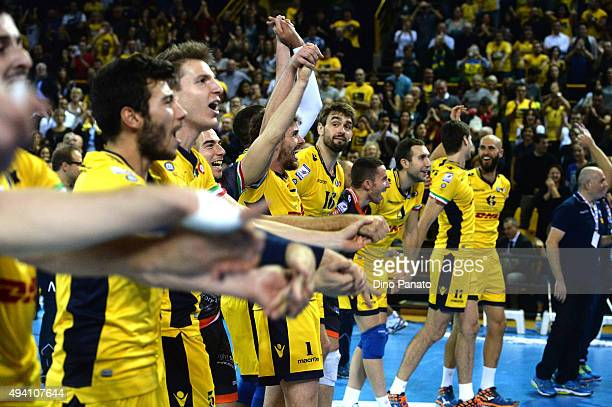 Modena players celebrate victpry after after the Italian Volleyball Supercup at Palapannini on October 24 2015 in Modena Italy