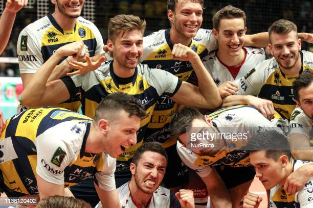 Modena Volley during the Italian Superleague Semifinals match between Modena and Perugia at Palapanini on April 19, 2019 in Modena, Italy.