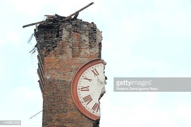 Modenesi's Towers of Finale Emilia are destroyed following an earthquake on May 20 2012 in Ferrara Italy At least four people were killed after the...