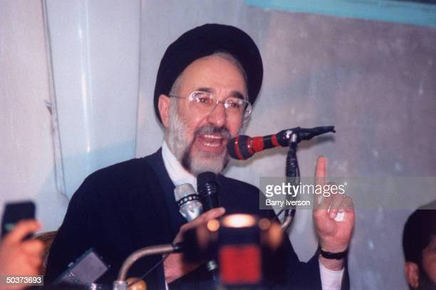 Moderate cleric presidential candidate Mohammed Khatami, surprise front-runner, speaking on election day.