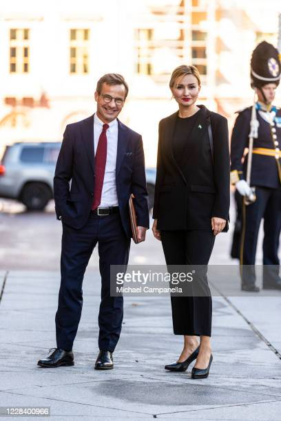 Moderate Party leader Ulf Kristersson and Christian Democrat party leader Ebba Busch Thor attend the opening of the Swedish Parliament for the fall...