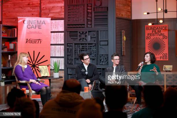 Moderated Ania Trzebiatowska Sam Feder Lana Wilson And Jeff Orlowski speak onstage at the Cinema Cafe during the 2020 Sundance Film Festival at...