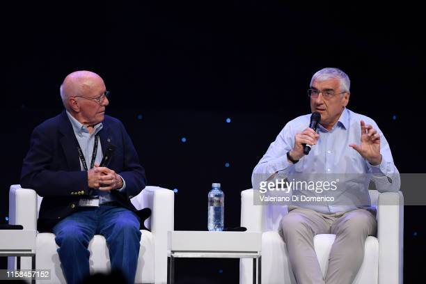 Moderater Gerry Griffin and Michael Hitze attends Starmus V A Giant Leap sponsored by Kaspersky at Samsung Hall on June 26 2019 in Zurich Switzerland