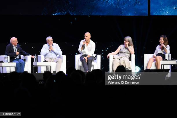 Moderater Gerry Griffin Michael Hitze Tony Fadell Donna Strickland and MayBritt Moser attends Starmus V A Giant Leap sponsored by Kaspersky at...