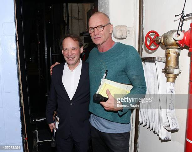 Moderator Adam Gopnik and recording artist Sting attends The New Yorker Festival 2014 'The Last Ship' Panel at the Neil Simon Theater on October 11...