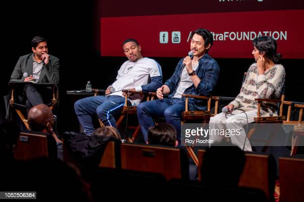 Moderator Adam Moore with Allen Maldonado James Chen and Sunita Mani attend the SAG AFTRA Business panel discussion 'New Voices New Stories Creating...
