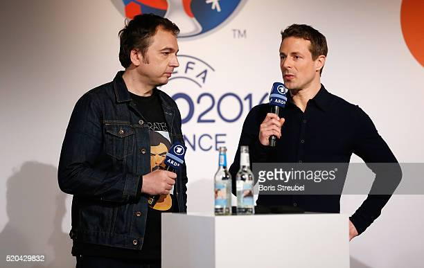 ARD moderator Alexander Bommes and Arnd Zeigler attend the ZDF UEFA Euro 2016 press conference at Radialsystem on April 11 2016 in Berlin Germany