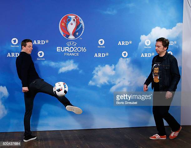 ARD moderator Alexander Bommes and Arnd Zeigler pose during a photocall prior to the ZDF UEFA Euro 2016 press conference at Radialsystem on April 11...