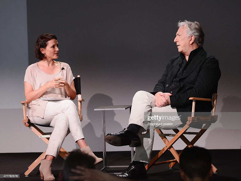Moderator Alison Bailes talks to actor/filmmaker Alan Rickman at the Apple Store Soho: Meet The Filmmaker: Alan Rickman, 'A Little Chaos' at Apple Store Soho on June 19, 2015 in New York City.
