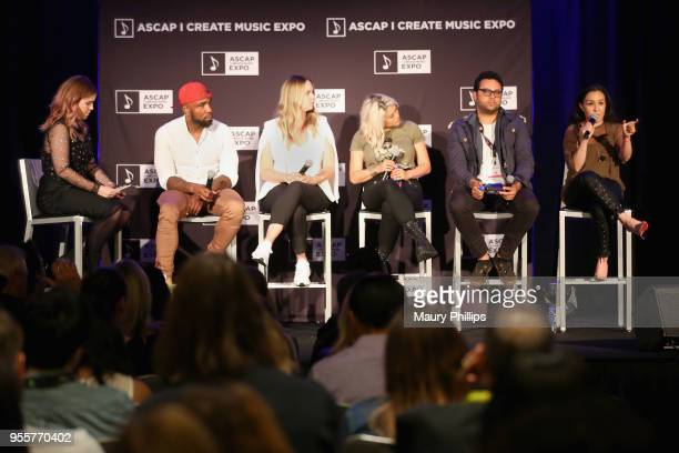 Moderator and Associate Director of Social Media for ASCAP Kate Cordova left leads the 'Breaking Through on Social Media' panel with Michael Akiko...