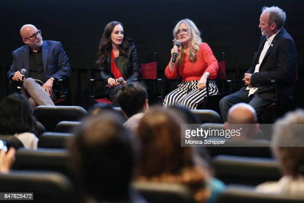 Moderator and film critic Joe Neumaier actress Ksenia Solo and writers Nancy Cartwright and Peter Kjenaas speak during a QA following the In Search...