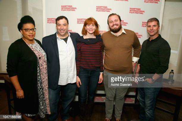 Moderator and Short Film Programmer Opal H Bennett panelists BJ Schwartz Annie Lukowski JT Della Femina and Bruce Vaughn attend Winick Talks A New...