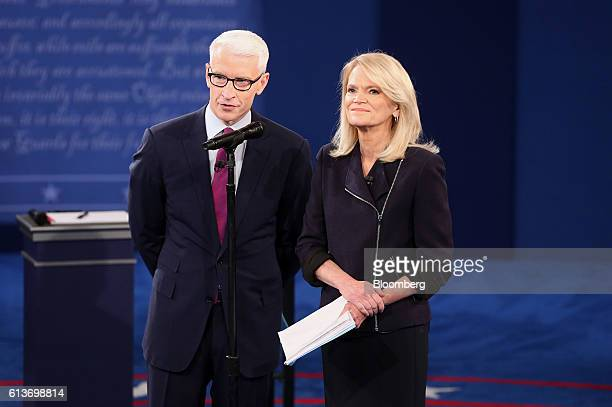 Moderator Anderson Cooper and Martha Raddatz stand on stage during the second US presidential debate at Washington University in St Louis Missouri US...