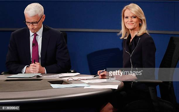Moderator Anderson Cooper of CNN and moderator Martha Raddatz of ABC appear during the town hall debate at Washington University on October 9 2016 in...
