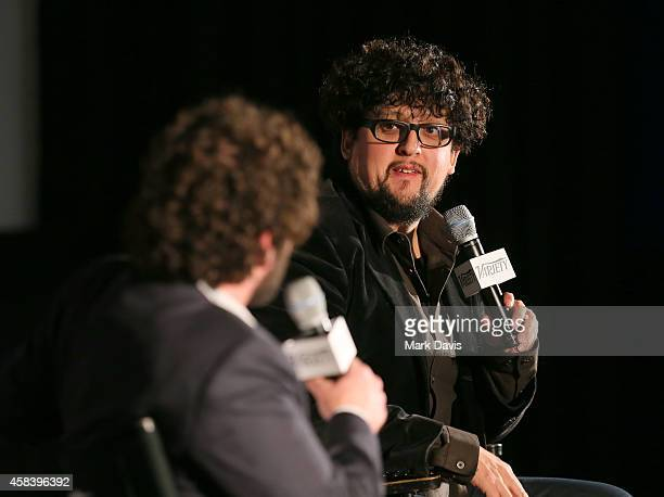 Moderator Andrew Barker and Director Alejandro Fernandez Almendras speak to the audience at the 2014 Variety Screening Series 'To Kill A Man'...