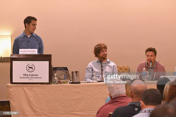 Moderator Andrew Farwell of Outback Concerts Drew Burchfield of Aloompa and Jason Kimball of Elevate Ticketing speak during the Back To Basics...