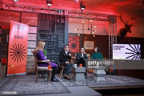 Moderator Ania Trzebiatowska Sam Feder Lana Wilson And Jeff Orlowski speak onstage at the Cinema Cafe during the 2020 Sundance Film Festival at...