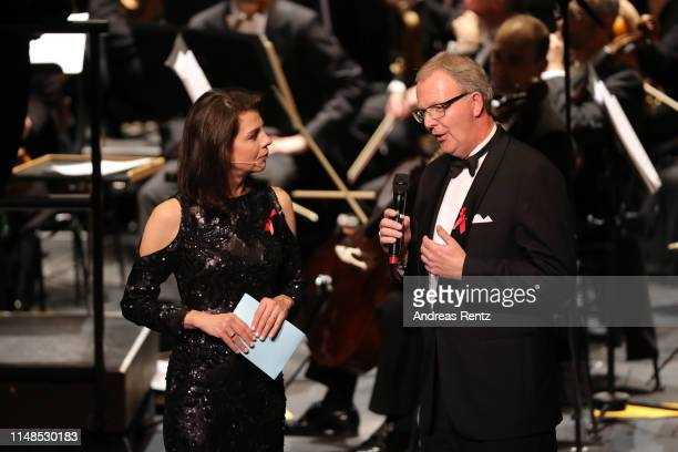Moderator Anja Broeker interviews Axel Voss during the 8th Opera Gala Bonn for the benefit of the German AIDS Foundation at Opera Bonn on May 11 2019...