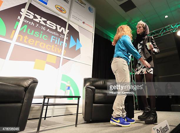 Moderator Ann Powers and musician St Vincent speak onstage at SXSW Interview St Vincent during the 2014 SXSW Music Film Interactive at Austin...