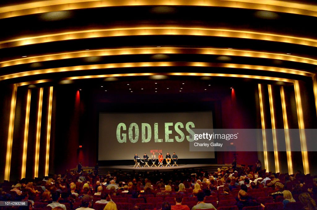 Moderator Anne Thompson, Creator/Writer/Director/Executive Producer Scott Frank, Executive Producer Casey Silver, Actress Michelle Dockery, Composer Carlos Rafael Rivera and Cinematographer Steven Meizler attend Netflix Celebrates 12 Emmy Nominations For 'Godless' at DGA Theater on August 9, 2018 in Los Angeles, California.