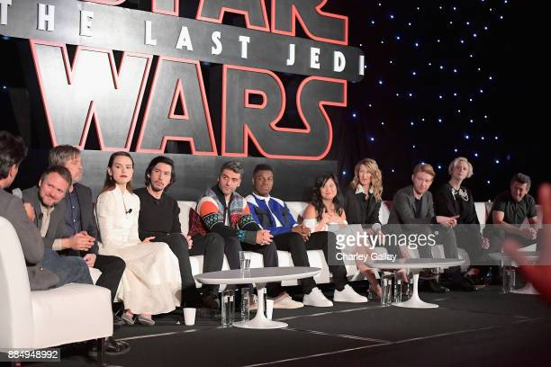 Moderator Anthony Breznican Director Rian Johnson actors Mark Hamill Daisy Ridley Adam Driver Oscar Isaac John Boyega Kelly Marie Tran Laura Dern...
