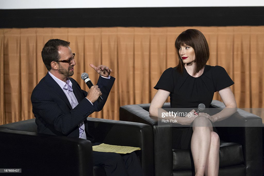 Moderator Ari Karpel and the first graduating director of Canon's Project Imagin8ion, Bryce Dallas Howard at Canon's Los Angeles Screening Of The Project Imaginat10n Film Festival at Pacific Theaters at the Grove on November 7, 2013 in Los Angeles, California.