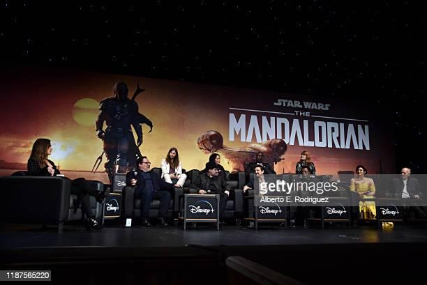 Moderator Ash Crossan, Executive Producer Jon Favreau, Composer Ludwig Göransson, Executive Producer/Director Dave Filoni, Director Deborah Chow,...