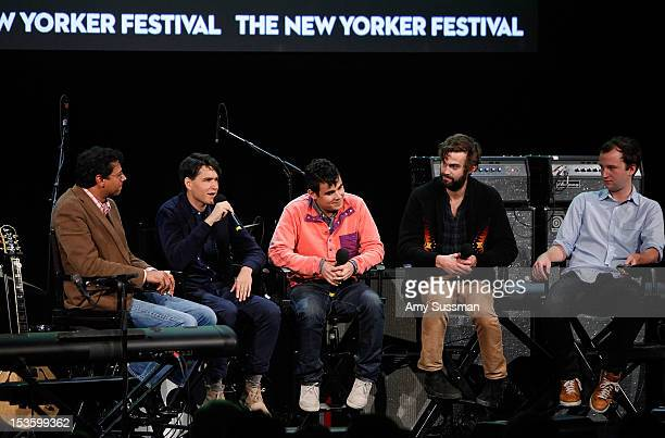 Moderator Atul Gawande and Vampire Weekend's Ezra Koenig Rostam Batmanglij Chris Tomson and Chris Baio speak at Coversation with Music at The New...