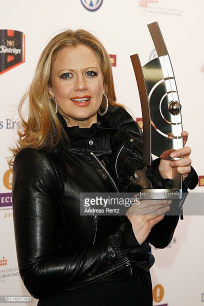 Moderator Barbara Schoeneberger attends the ECHO 2012 press conference on February 1 2012 in Berlin Germany The ECHO Award 2012 takes place on March...