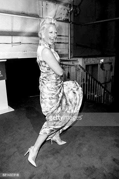 Moderator Barbara Schoeneberger dances during the Duftstars 2016 After Show Party at Kraftwerk Mitte on May 12 2016 in Berlin Germany