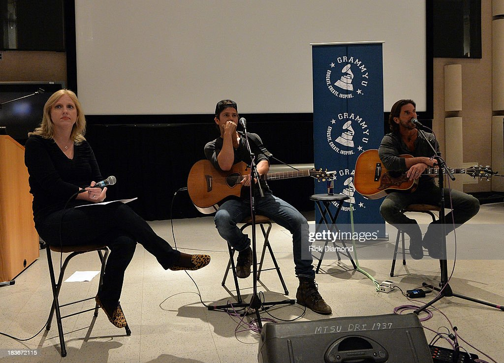 Moderator Beverly Keel Chair/Professor MTSU, Singers & Songwriters Kip Moore and Brett James speak and do a Q & A during GRAMMY U Fall Kick-Off with Kip Moore and Brett James at MTSU on October 8, 2013 in Murfreesboro, Tennessee.