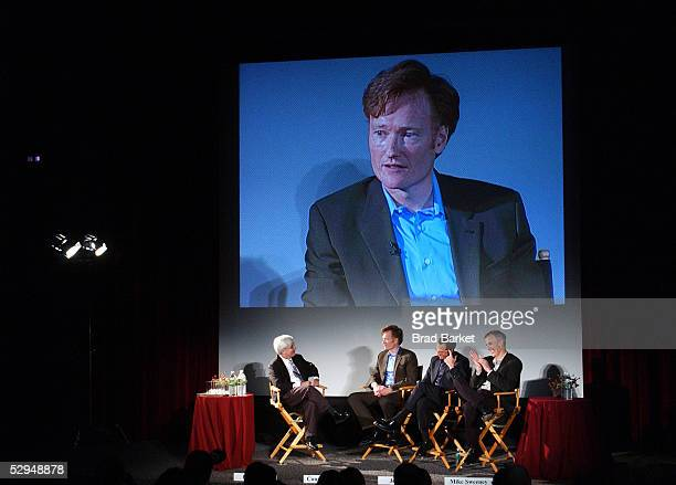Moderator Bill Carter speaks with talk show host Conan O'Brien producer Jeff Ross and head writer Mike Sweeney during An Evening with Late Night with...