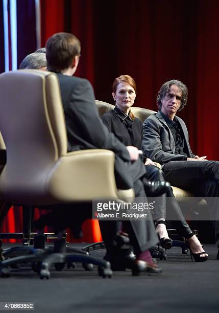 Moderator Brent Lang actress Julianne Moore and filmmaker Jay Roach speak onstage during CinemaCon's final day luncheon and special presentation at...