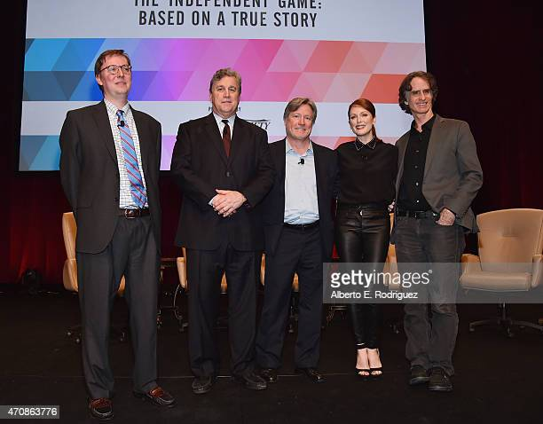 Moderator Brent Lang, Co-Chairman of Sony Pictures Classics Tom Bernard, AMC Theaters President of Programming Robert Lenihan, actress Julianne Moore...