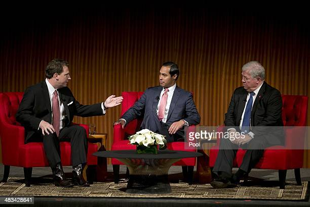 Moderator Brian Sweany Senior Executive Editor at Texas Monthly left speaks with Mayor of San Antonio Julian Castro center and former Governor of...