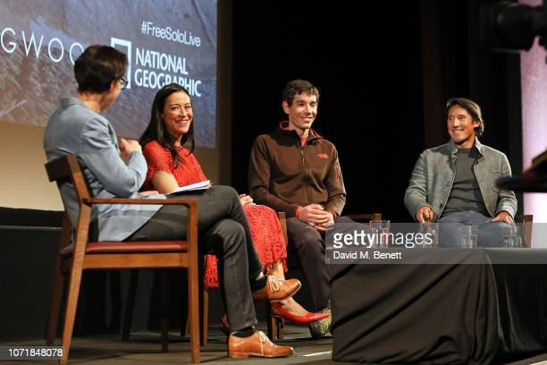 QA moderator Briony Hanson E Chai Vasarhelyi Alex Honnold and Jimmy Chan on stage during National Geographic Documentary Films London Premiere of...